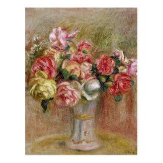 Cartão Postal Pierre rosas de Renoir um | em um vaso de Sevres