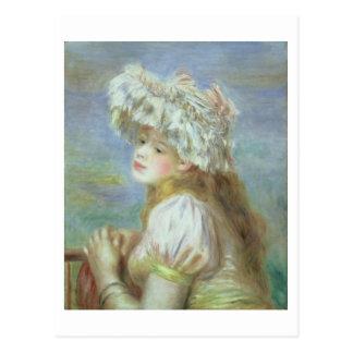 Cartão Postal Pierre uma jovem mulher de Renoir | em um chapéu