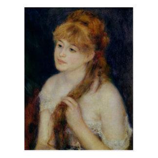 Cartão Postal Pierre uma jovem mulher de Renoir | que trança seu