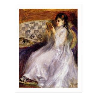 Cartão Postal Pierre uma leitura da jovem mulher de Renoir |