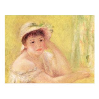 Cartão Postal Pierre uma mulher de Renoir | em um chapéu de