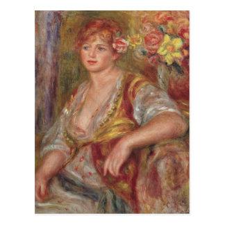 Cartão Postal Pierre uma mulher loura de Renoir | com um rosa