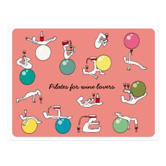 Cartão Postal Pilates para amantes de vinho cartão, salmão