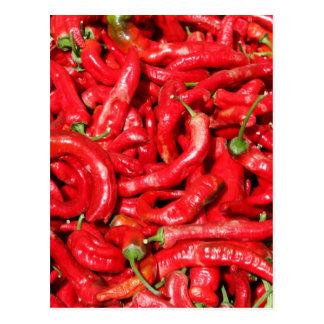 Cartão Postal Pimentas de pimentão vermelho quentes fora no
