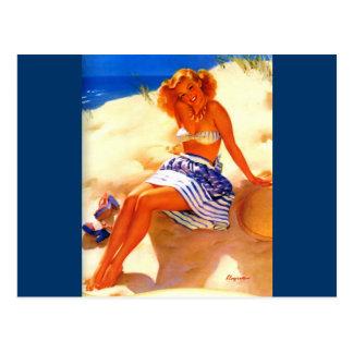 Cartão Postal Pin do verão da praia de Gil Elvgren do vintage