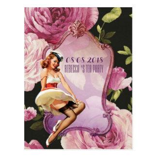Cartão Postal Pin do vintage acima do chá de panela retro da