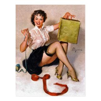 Cartão Postal Pin retro de Gil Elvgren da arte do Pinup do