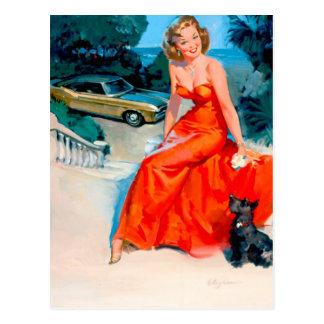 Cartão Postal Pin retro de Gil Elvgren do vintage acima da