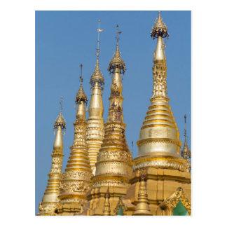 Cartão Postal Pináculos do pagode de Shwedagon