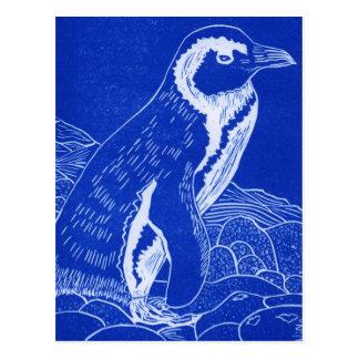 Cartão Postal Pinguim azul de Linocut