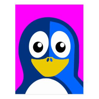 Cartão Postal Pinguim azul no roxo