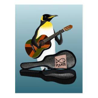 Cartão Postal Pinguim Busking