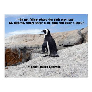 Cartão Postal Pinguim, citações de Ralph Waldo Emerson