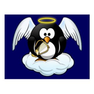 Cartão Postal Pinguim do anjo do Natal