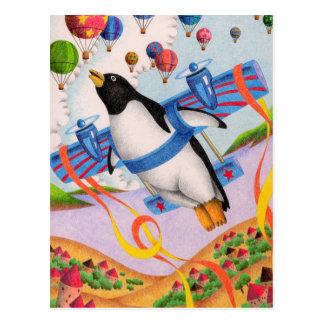 Cartão Postal Pinguim do vôo