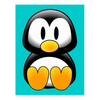 Cartão Postal Pinguim engraçado bonito do bebê