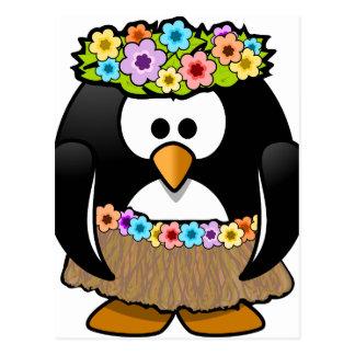 Cartão Postal Pinguim havaiano com flores e saia de grama