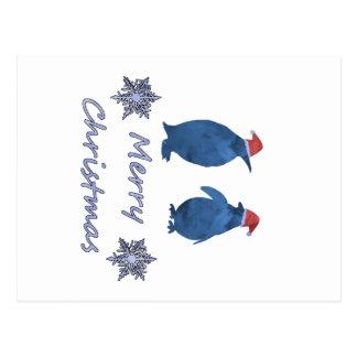 Cartão Postal Pinguins do Natal