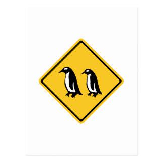 Cartão Postal Pinguins que cruzam-se, sinal de tráfego, Nova