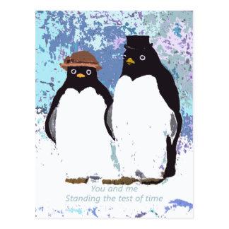 Cartão Postal Pinguins você e mim que estão o teste do tempo