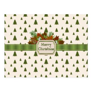 Cartão Postal Pinheiros com fita do Feliz Natal