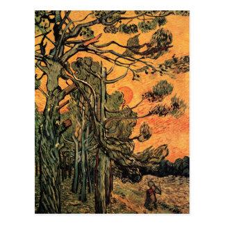 Cartão Postal Pinheiros no por do sol por Vincent van Gogh