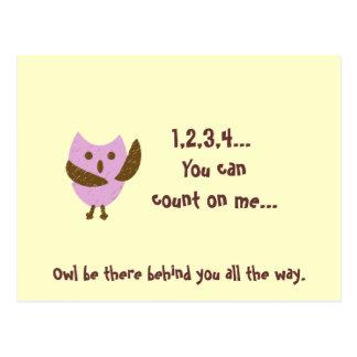 Cartão Postal pinkyowl, 1,2,3,4… Você pode contar em mim…, Ow…