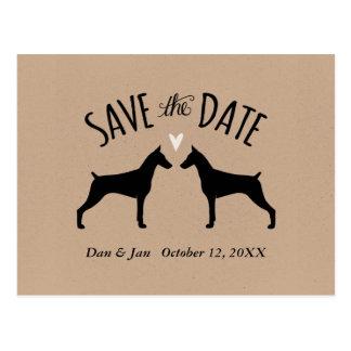 Cartão Postal Pinschers do Doberman que Wedding economias a data