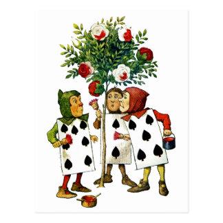 Cartão Postal Pintando os rosas da rainha em Alice no país das