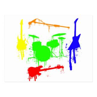 Cartão Postal Pinte grafites da banda dos instrumentos musicais