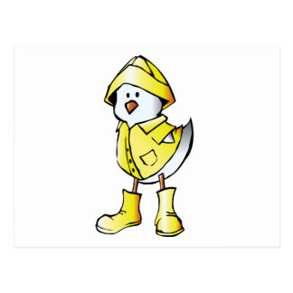 Cartão Postal Pintinho bonito do bebê que veste um Raincoat