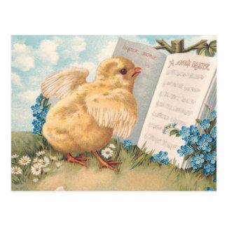 Cartão Postal Pintinho da páscoa do vintage com música e flores