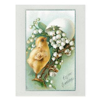 Cartão Postal Pintinho, ovo da páscoa e lírio do vintage do vale