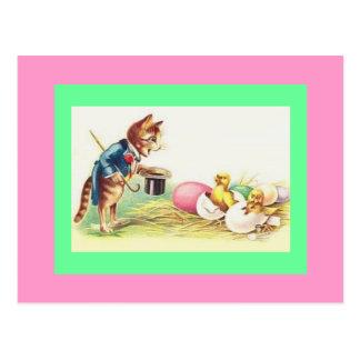 Cartão Postal Pintinhos do Ringmaster & da páscoa do gato