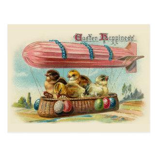 Cartão Postal Pintinhos na páscoa cor-de-rosa do vintage do