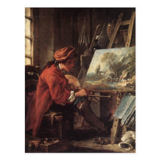 Cartão Postal Pintor em seu estúdio - François Boucher