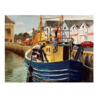 Cartão Postal Pintura a óleo comercial do barco da cidade de