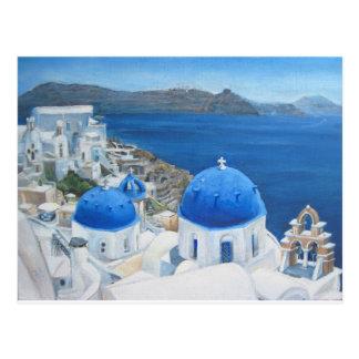 Cartão Postal Pintura a óleo de Santorini Oia