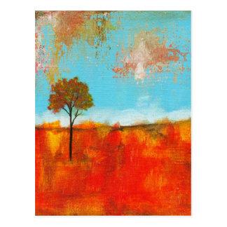 Cartão Postal Pintura abstrata da arte da árvore da paisagem do