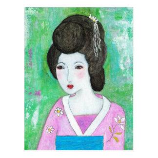 Cartão Postal Pintura abstrata dos meios mistos da menina de
