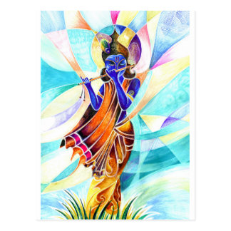 Cartão Postal Pintura abstrata Handmade do senhor Krishna com fl