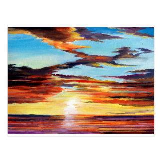Cartão Postal Pintura acrílica do por do sol