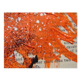 Cartão Postal Pintura alaranjada abstrata