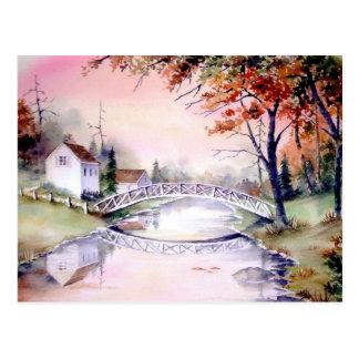 Cartão Postal Pintura arqueada da aguarela da ponte
