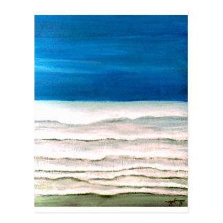 Cartão Postal Pintura chuvosa das ondas de oceano do surf da