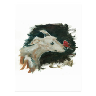 Cartão Postal pintura cinzenta do cão e do passarinho!