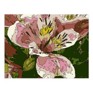 Cartão Postal Pintura cor-de-rosa de florescência da flor do