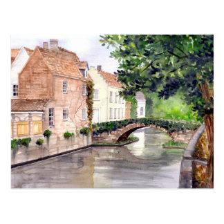 Cartão Postal Pintura da aguarela de Bruges pelo Greenfield de