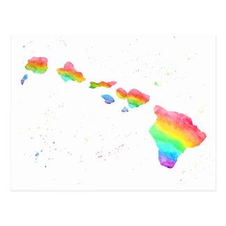 Cartão Postal Pintura da aguarela do mapa do arco-íris das ilhas