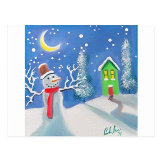 Cartão Postal Pintura da arte popular da cena do inverno do